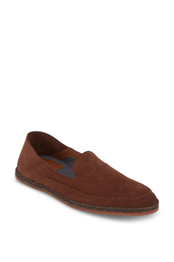 Aquatalia Nick Brown Weatherproof Suede Loafer