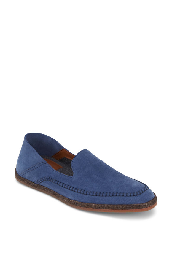 Aquatalia Nick Steel Blue Weatherproof Suede Loafer