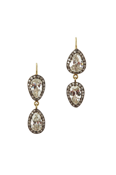 Sylva & Cie - Gold & Silver Diamond Drop Earrings