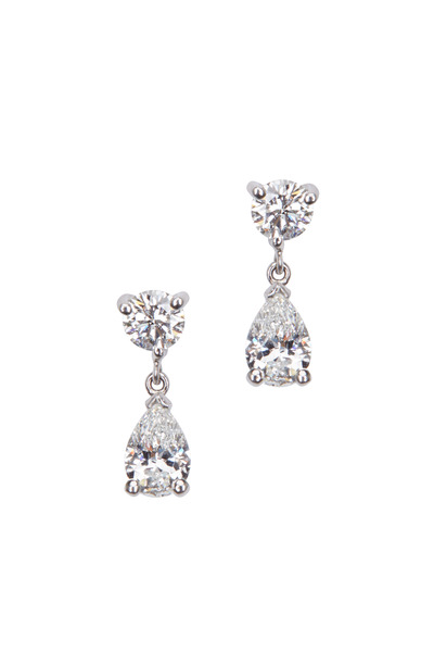 Kwiat - Classic Platinum White Diamond Small Drop Earrings