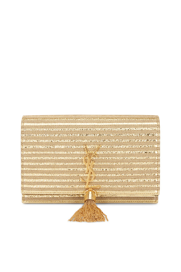 Saint Laurent Kate Monogram Gold Textured Leather Crossbody