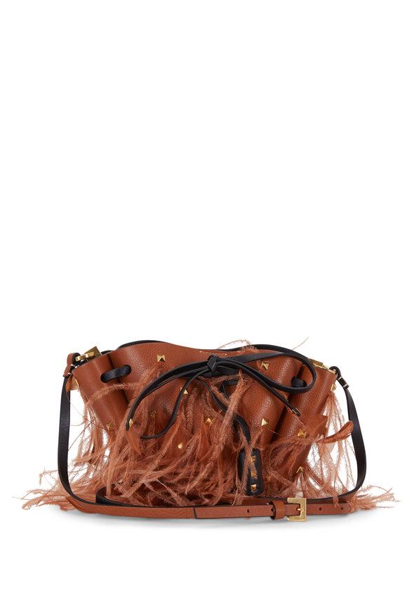 Valentino Garavani Go Logo Tan Rockstud & Feather Small Bucket Bag