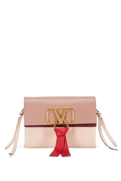 Valentino Garavani - VRing Rose & Cream Leather Small Crossbody Bag