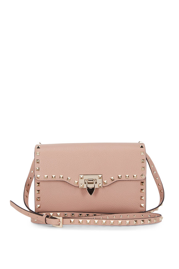 Valentino Garavani Rockstud Rose Pebbled Leather Shoulder Bag