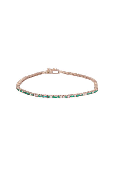 Kai Linz - 14K Rose Gold Emerald Tennis Bracelet