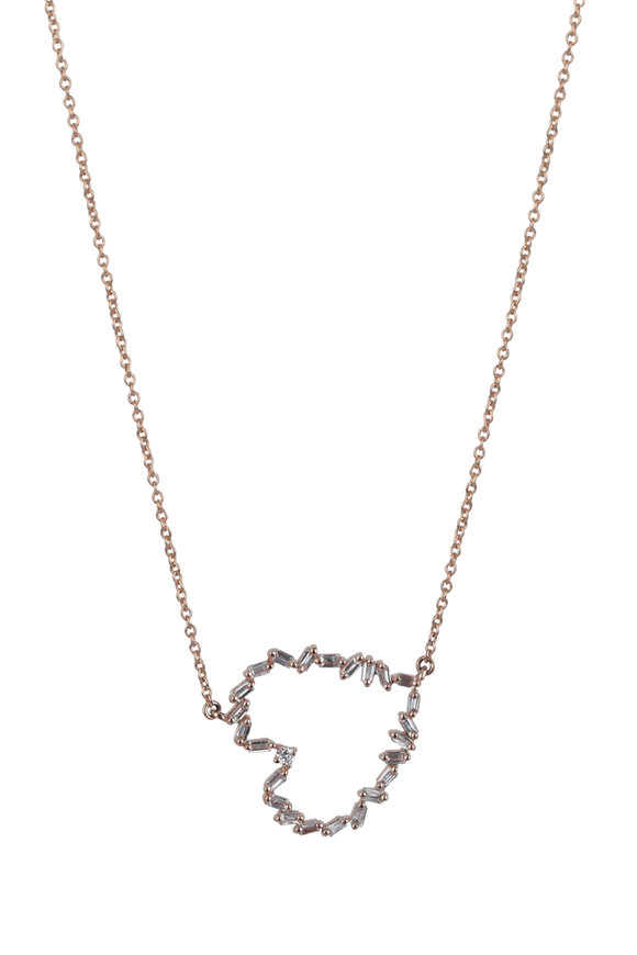 Kai Linz 18K Rose Gold Diamond Silhouette Heart Necklace
