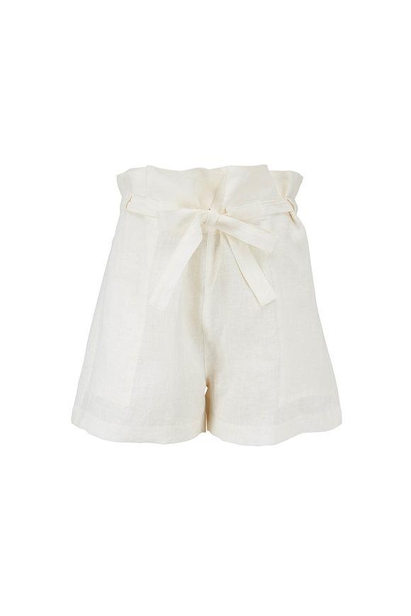 Nili Lotan Mora Natural Linen Shorts