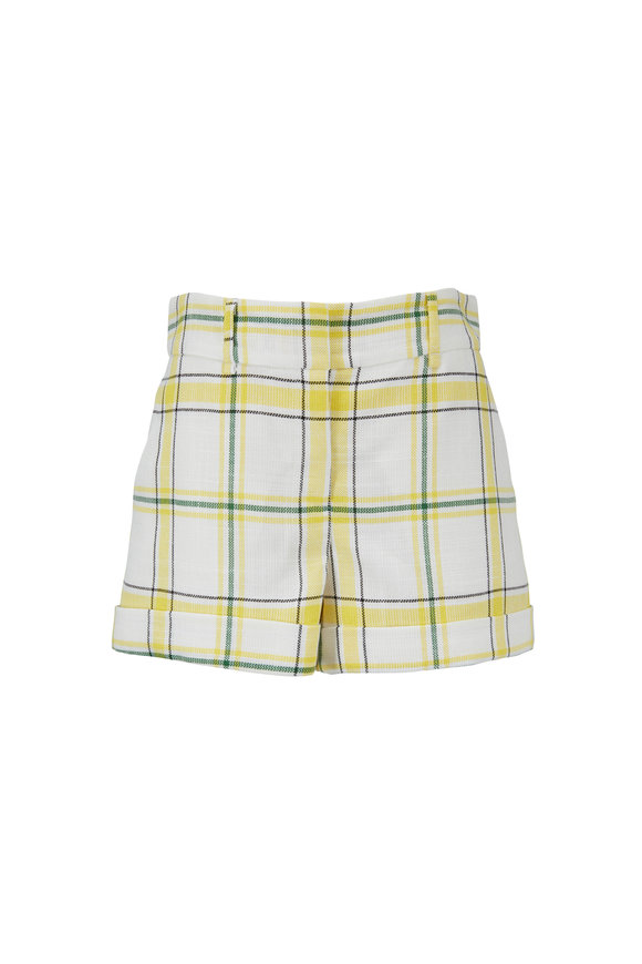Veronica Beard Carito Yellow & Green Windowpane Short