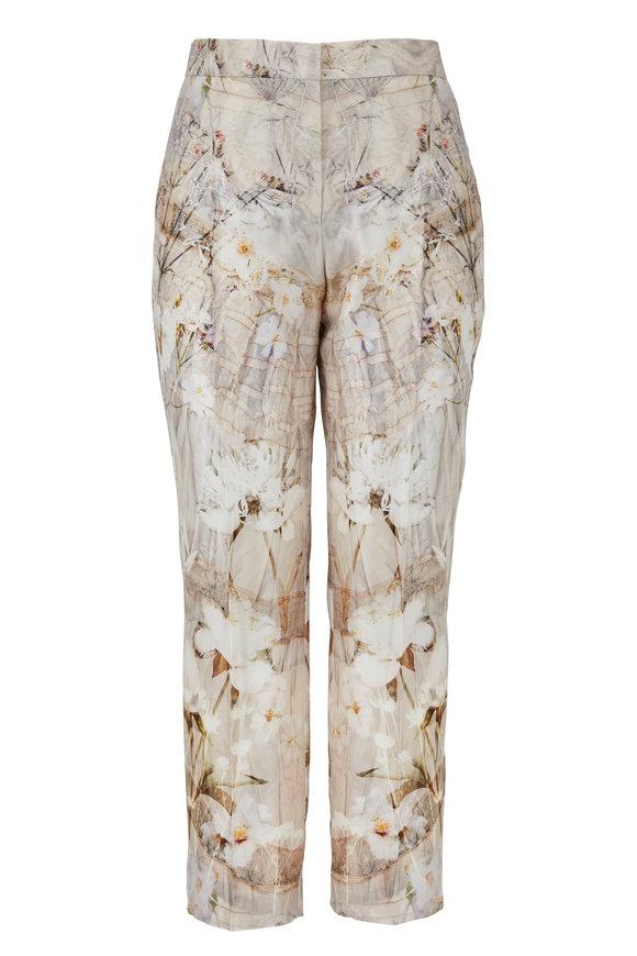 Alexander McQueen Ivory Wool & Silk Ophelia Print Cigarette Leg Pant