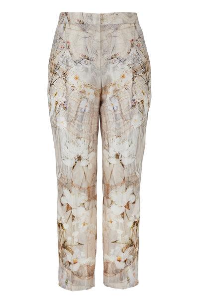 Alexander McQueen - Ivory Wool & Silk Ophelia Print Cigarette Leg Pant