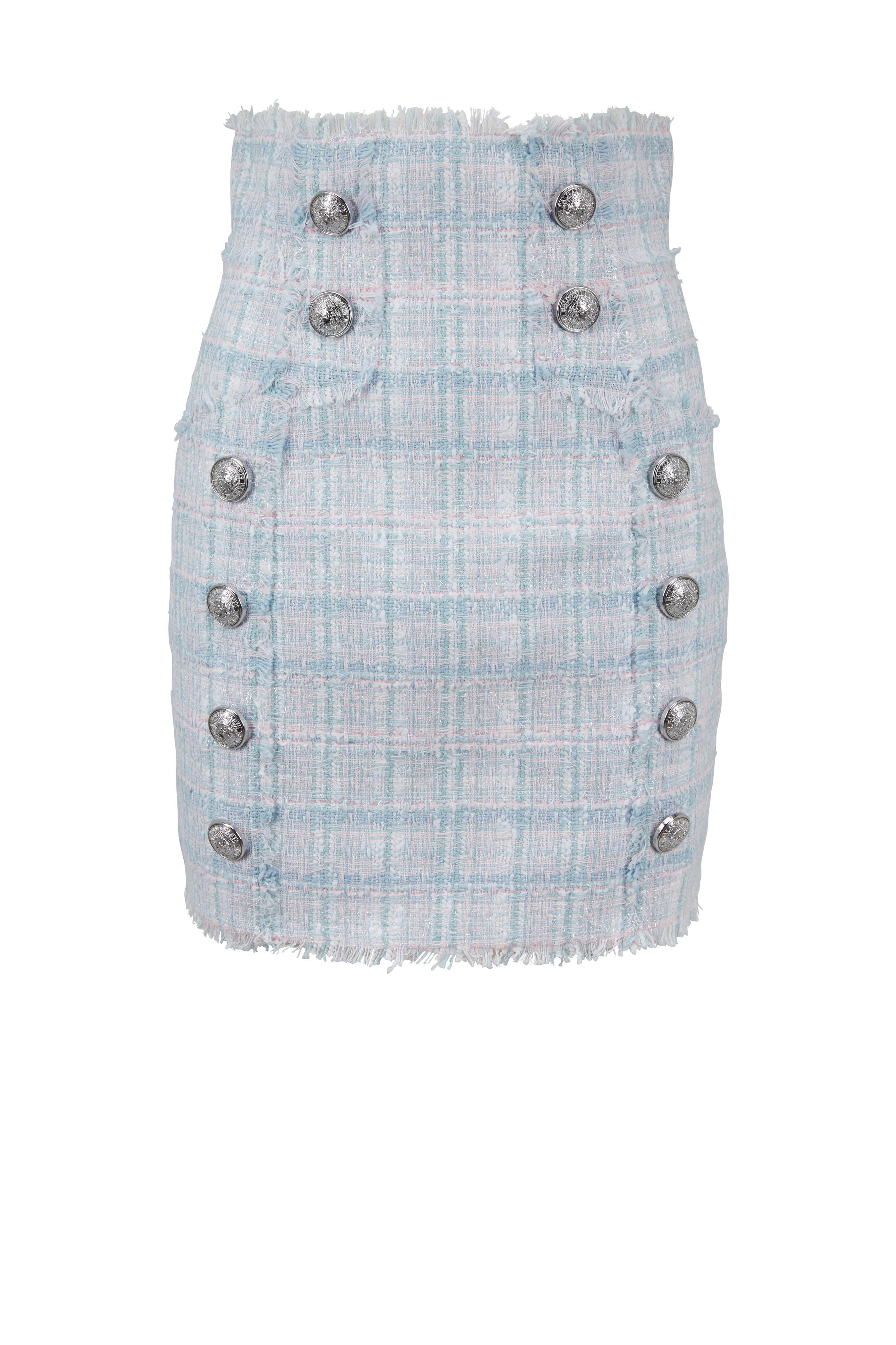 6beebc0b17 Balmain - Sky Blue & Pink Tweed High-Waist Skirt | Mitchell Stores