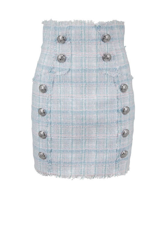 Balmain Sky Blue & Pink Tweed High-Waist Skirt