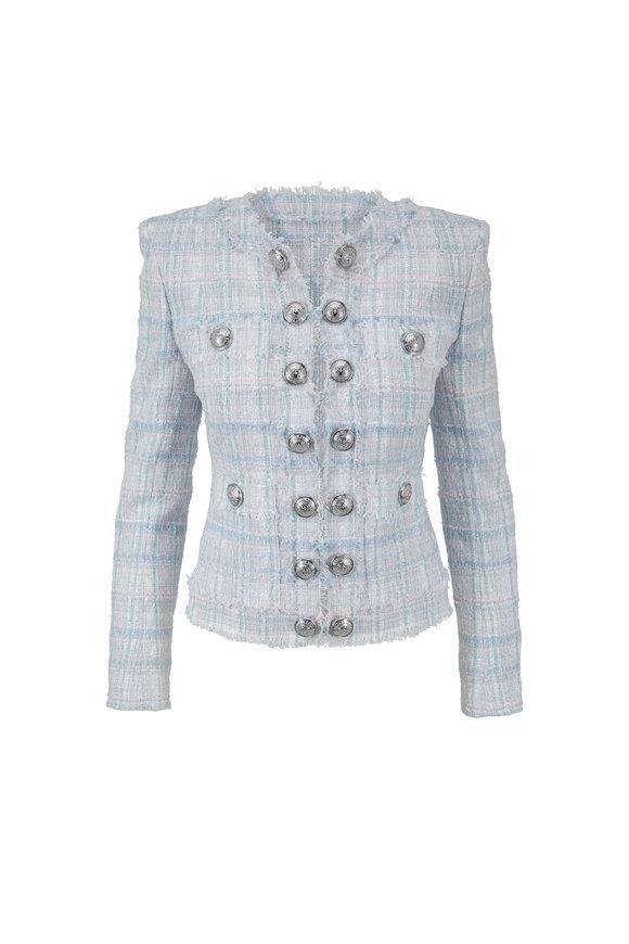 Balmain Sky Blue & Pink Tweed Collarless Jacket