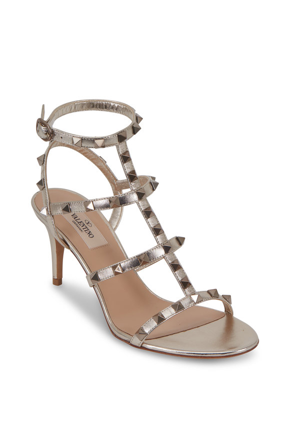 Valentino Garavani Rockstud Skin Metallic Leather Sandal, 70mm