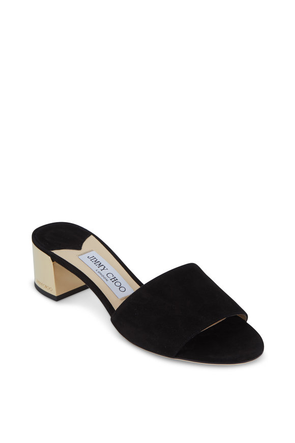 Jimmy Choo Joni Black Suede Metallic Heel Slide, 40mm