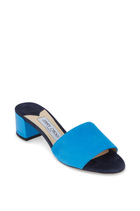 Jimmy Choo Joni Sky Blue Suede Lacquer Heel Slide, 40mm