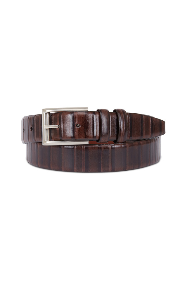 Brown Ribbed Calf Leather Belt