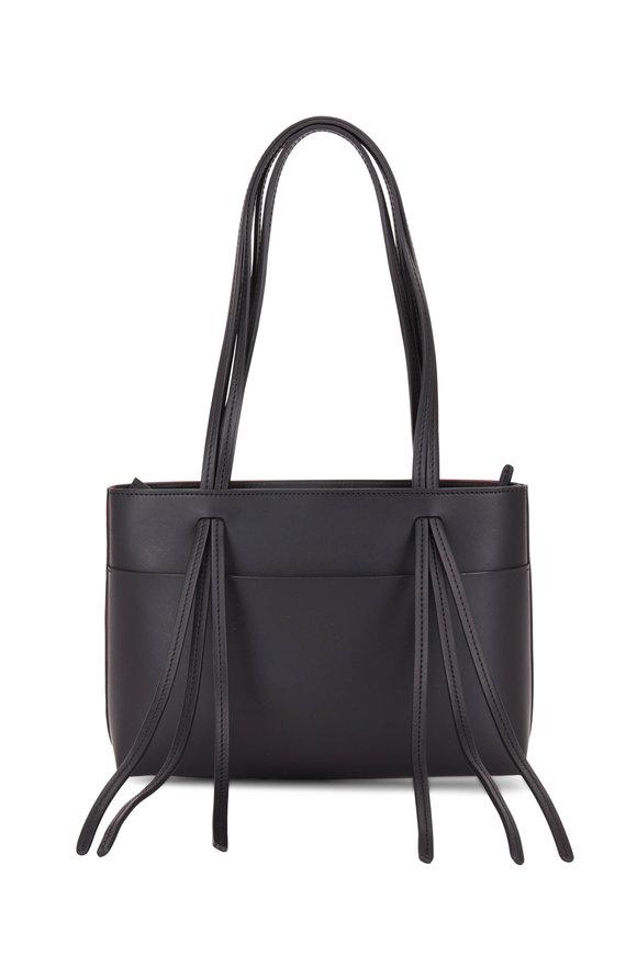 Mansur Gavriel Black & Red Leather Fringed Mini Tote Bag