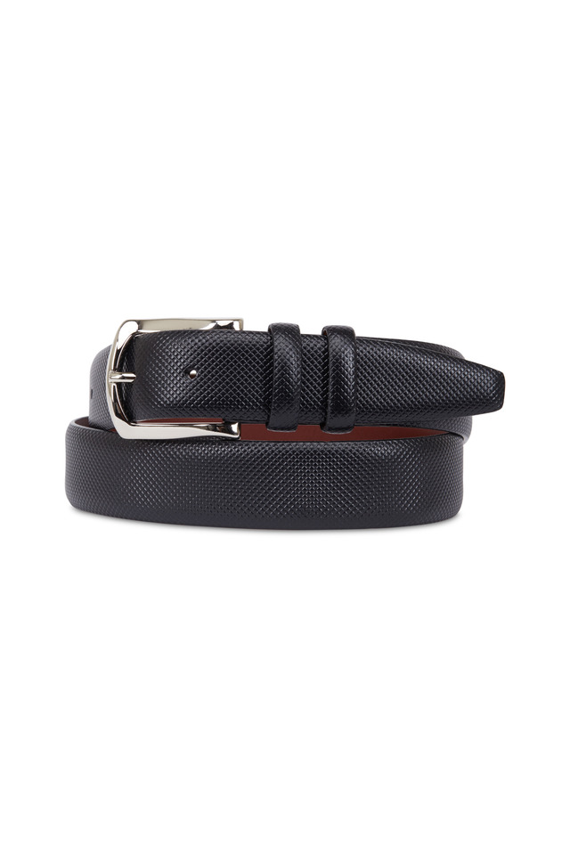 Black Embossed Calf Leather Belt