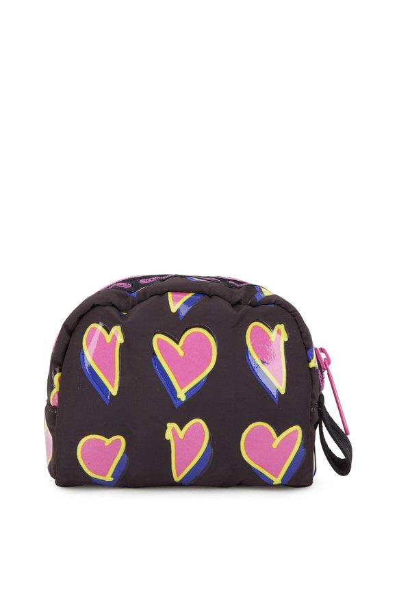 LeSportsac Black With Pink Hearts Nylon Mini Makeup Case
