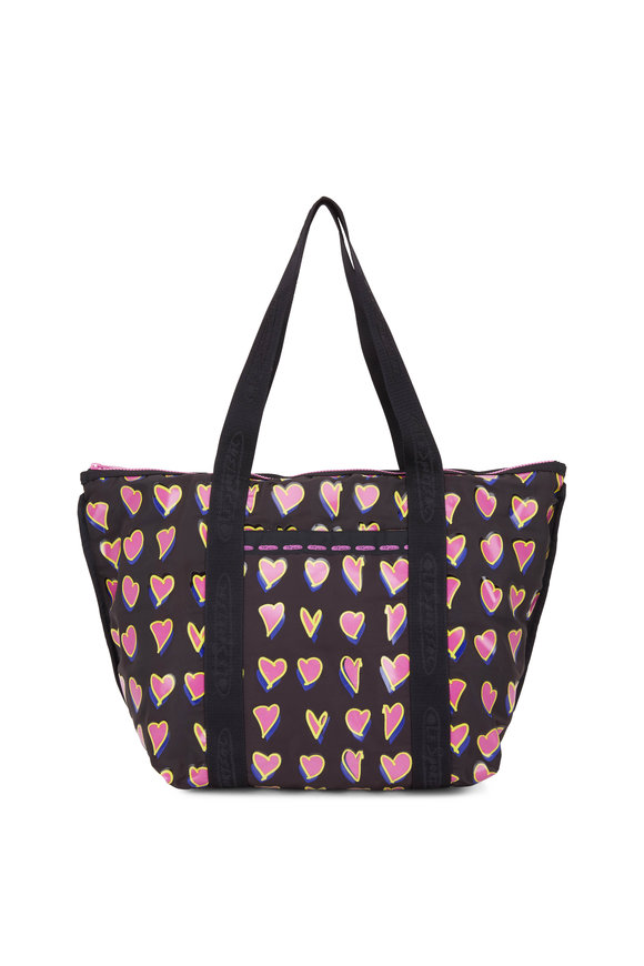 LeSportsac Black With Pink Hearts Nylon Large Tote