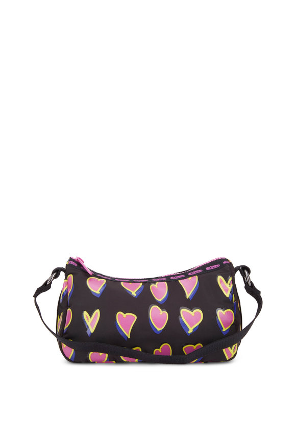 LeSportsac Black With Pink Hearts Nylon Mini Shoulder Bag