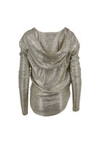 Balmain - Silver Laminated Hooded Wrap Top