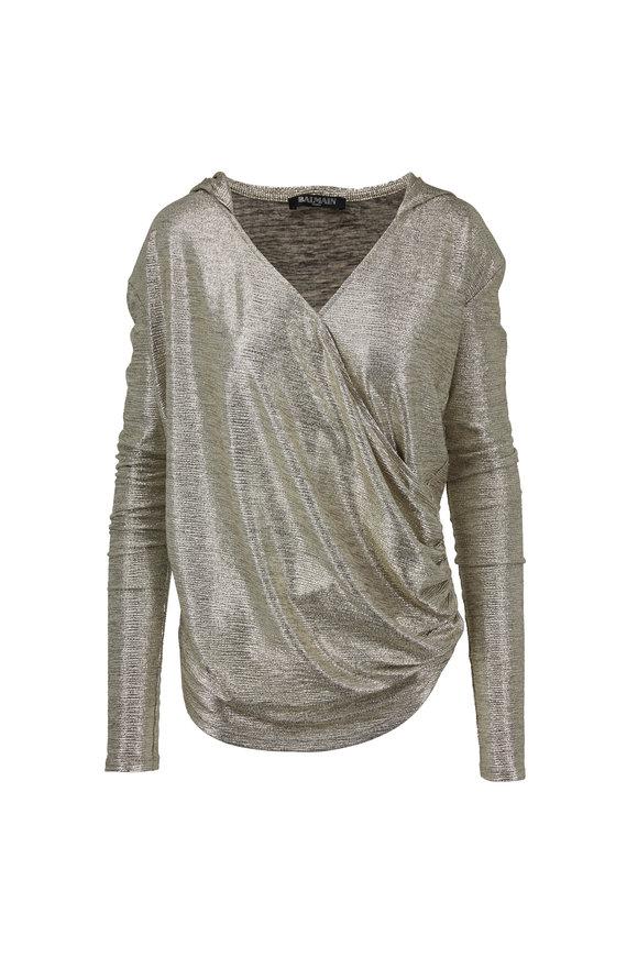 Balmain Silver Laminated Hooded Wrap Top