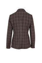 Brunello Cucinelli - Brown & Beige Wool Plaid Double-Breasted Jacket