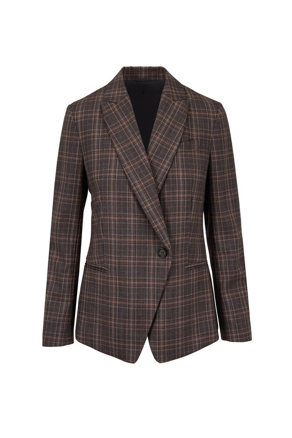 Brunello Cucinelli Brown & Beige Wool Plaid Double-Breasted Jacket