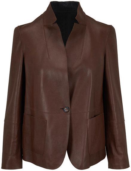 Brunello Cucinelli Dark Brown Reversible Leather Jacket