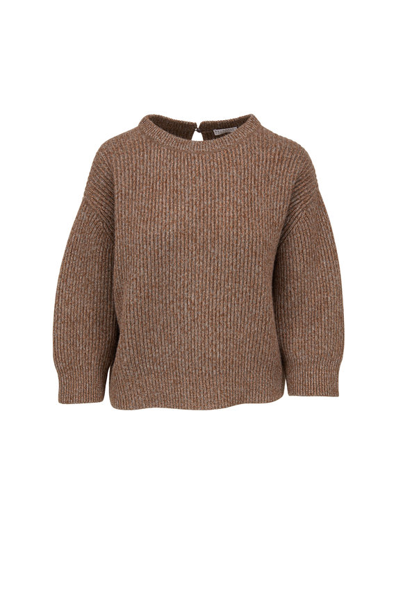 Brunello Cucinelli Caribou Wool & Cashmere Lurex Ribbed Sweater