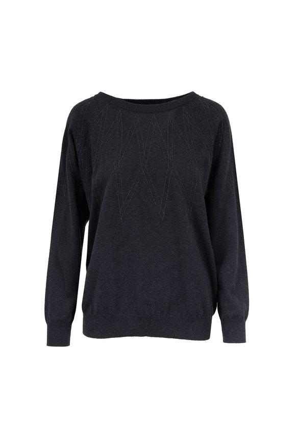 Brunello Cucinelli Onyx Two-Ply Cashmere Monili Argyle Sweater