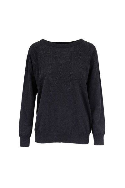 Brunello Cucinelli - Onyx Two-Ply Cashmere Monili Argyle Sweater