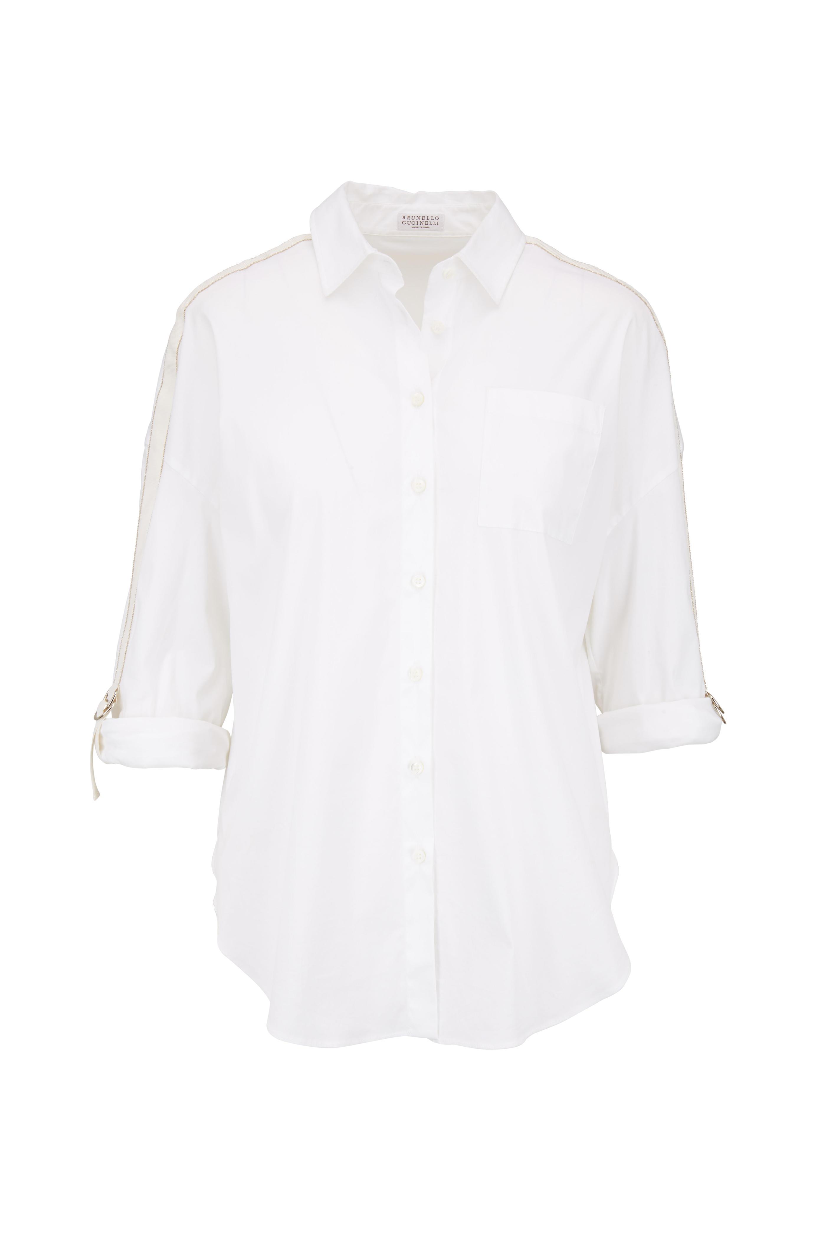 84312364531c5a Brunello Cucinelli - White   Gold Monili Sleeve Blouse