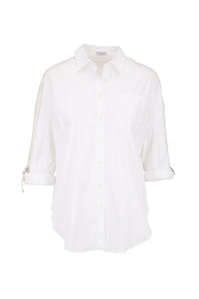 Brunello Cucinelli - White & Gold Monili Sleeve Blouse