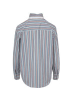 Brunello Cucinelli - Multicolor Poplin Vertical Striped Blouse