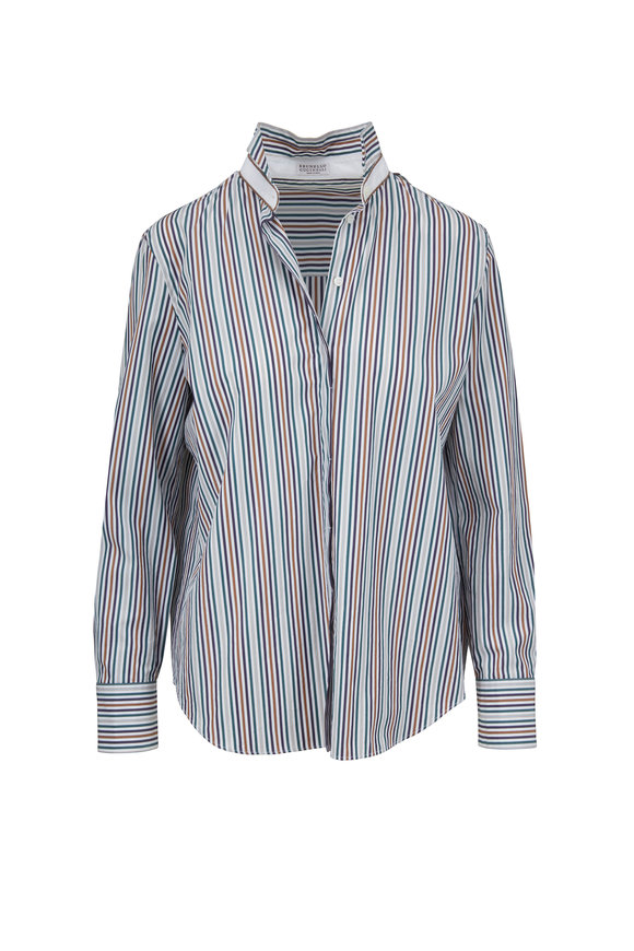 Brunello Cucinelli Multicolor Poplin Vertical Striped Blouse