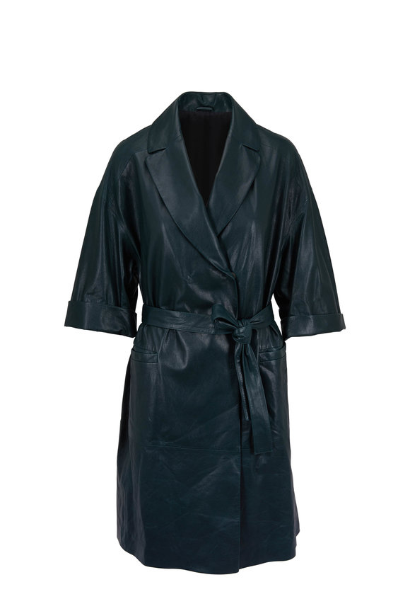 Brunello Cucinelli Forest Green Vintage Effect Leather Belted Coat