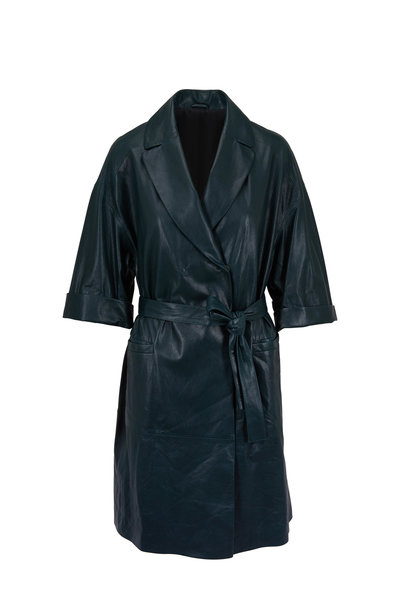 Brunello Cucinelli - Exclusively Ours! Forest Green Leather Belted Coat