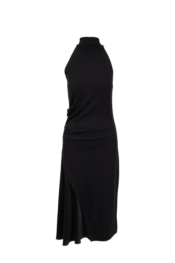 Brunello Cucinelli Black Stretch Wool Side Slit Knit Dress