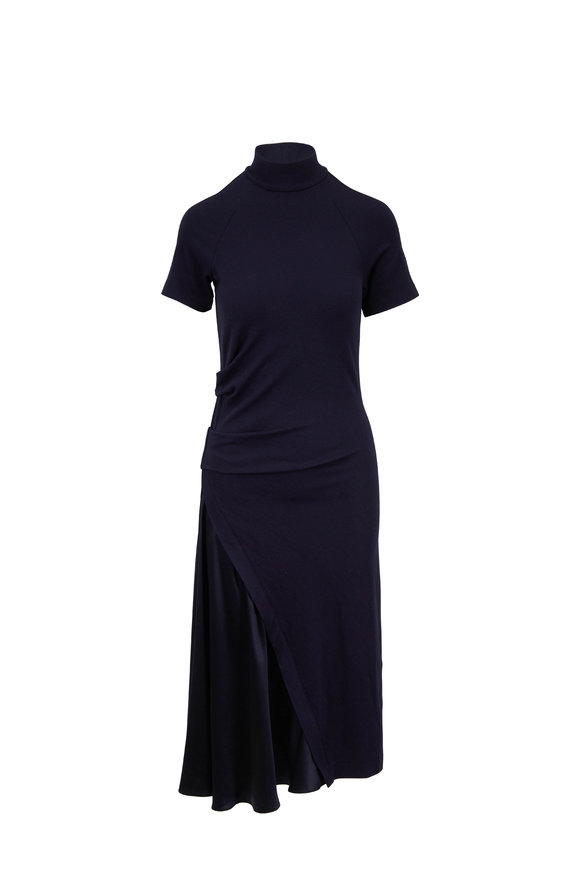 Brunello Cucinelli Midnight Stretch Wool Turtleneck Side Slit Dress