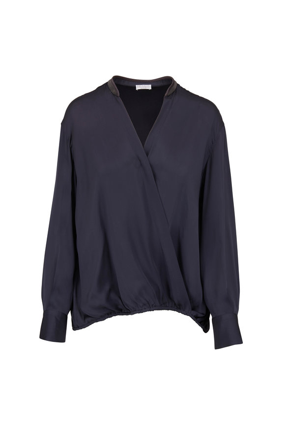 Brunello Cucinelli Midnight Silk Cross Front Blouse