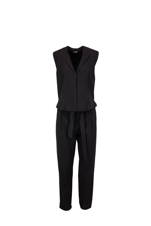 Brunello Cucinelli Black Wool Monili Trim Jumpsuit
