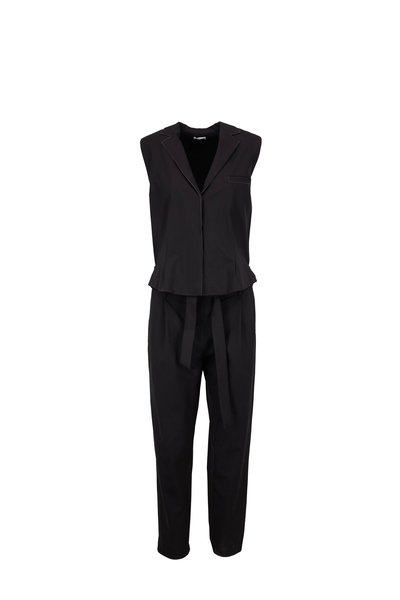 Brunello Cucinelli - Black Wool Monili Trim Jumpsuit