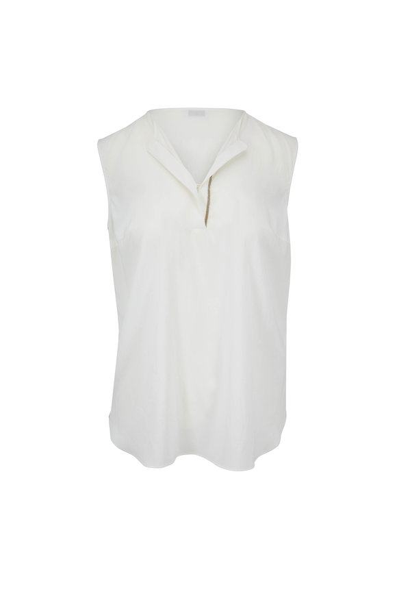Brunello Cucinelli White Stretch Silk Sleeveless Henley
