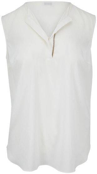 Brunello Cucinelli White Stretch Silk Sleeveless Henley