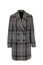 Brunello Cucinelli - Black & White Wool Plaid Double-Breasted Jacket