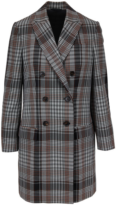 Brunello Cucinelli Black & White Wool Plaid Double-Breasted Jacket