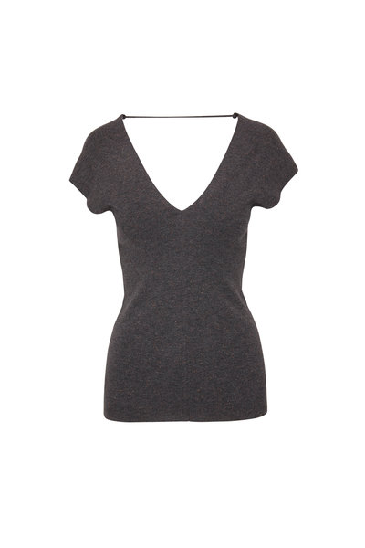 Brunello Cucinelli - Volcano Cashmere Lurex Double V-Neck Sweater